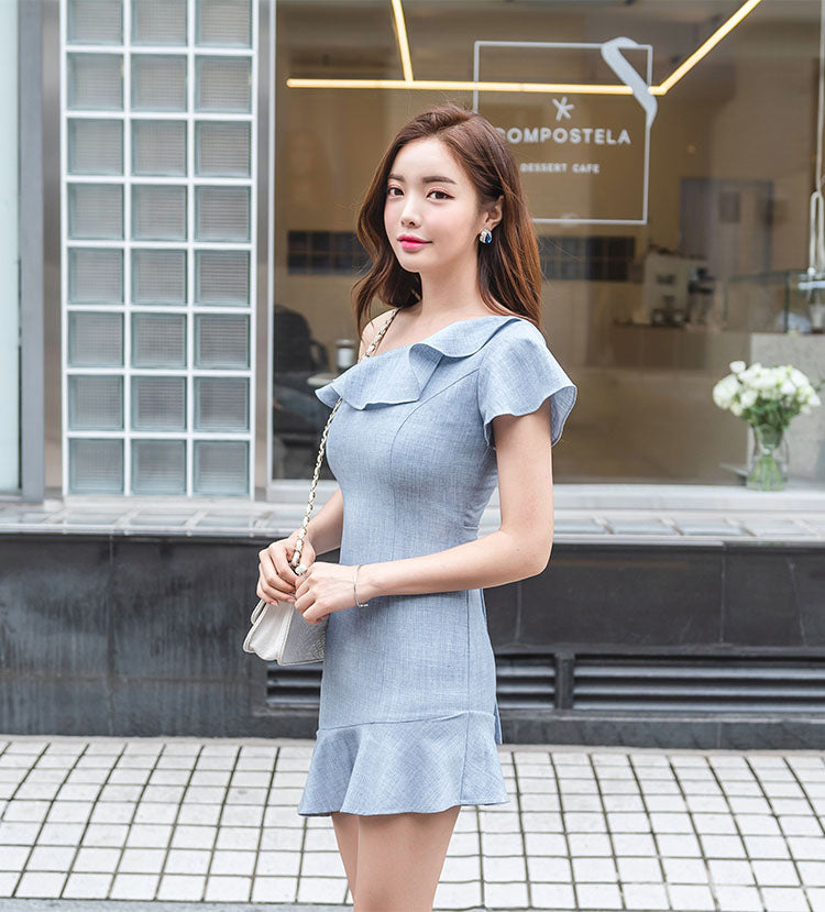DR10040 Short Sleeve One Shoulder Ruffle Asymmetric Sheath Dress