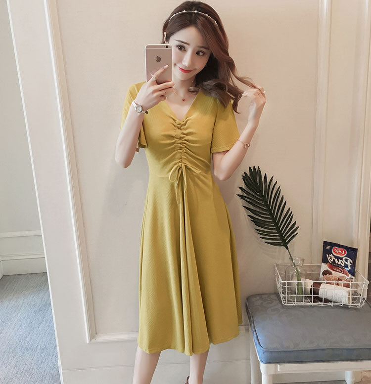 DR10083 Short Sleeve V Neck Loose Dress