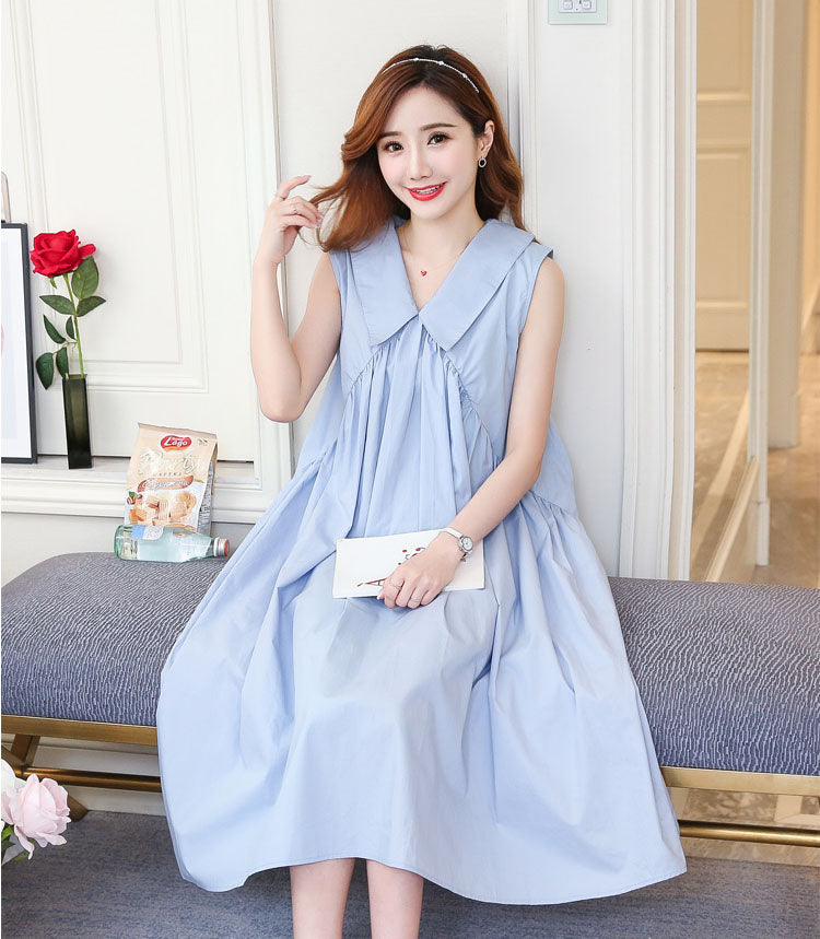 DR10086 Sleeveless V Neck Loose A-line Dress
