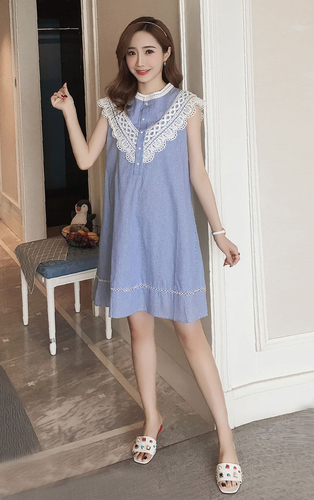 DR10088 Sleeveless Round Neck A-line Dress