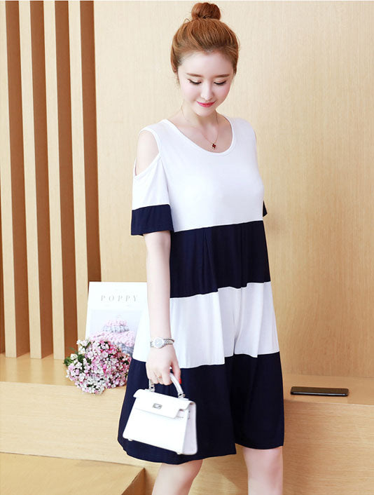 DR10089 Short Hollow Sleeve Round Neck Loose Dress