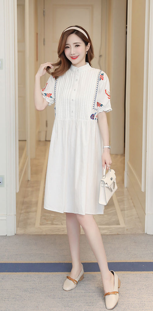 DR10090 Short Sleeve Mandarin Collar A-line Shirt Dress