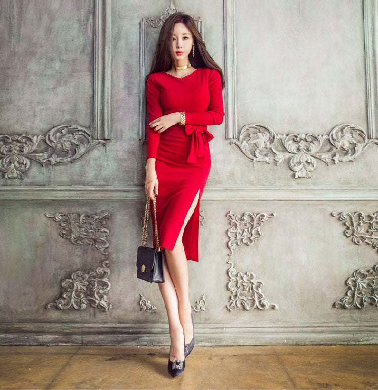 DR10123 Three Quarter Sleeve Round Neck Sheath Dress
