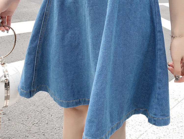 DR10124 Spaghetti Strap Denim Skater Dress