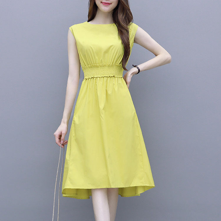 DR10136 Sleeveless Round Neck A-line Long Dress