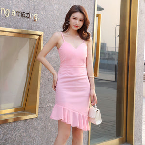 DR10137 Asymmetric Fishtail Slip Dress