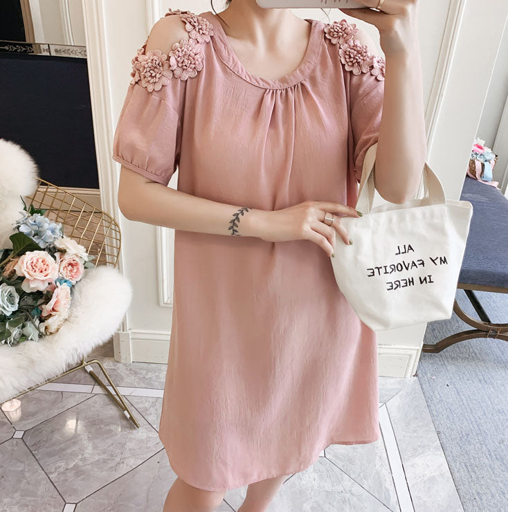 DR10138 Short Hollow Sleeve Round Neck A-line Dress