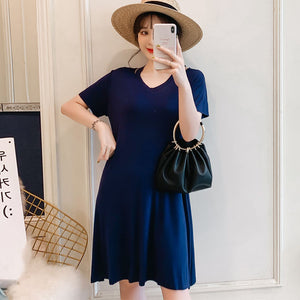 DR10139 Short Sleeve A-line T-shirt Dress