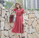DR10140 Short Sleeve V Neck A-line Dress