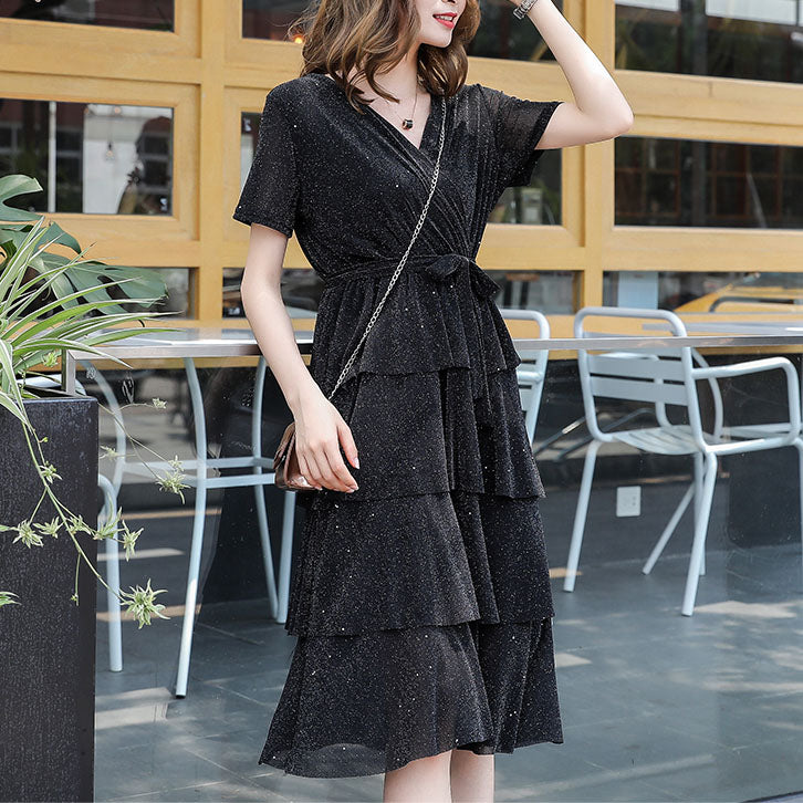 DR10141 Short Sleeve V Neck A-line Layer Dress