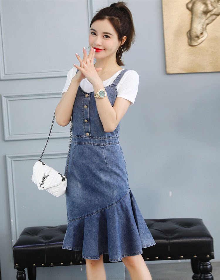 DR10146 Long Denim Fishtail Slip Dress
