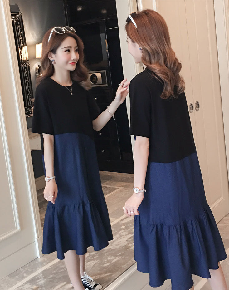 DR20008 Short Sleeve Round Neck Shift Dress