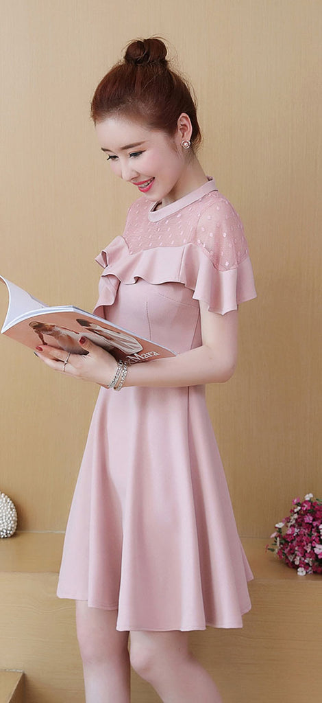DR20009 Short Sleeve Shoulder Sheer A-line Dress