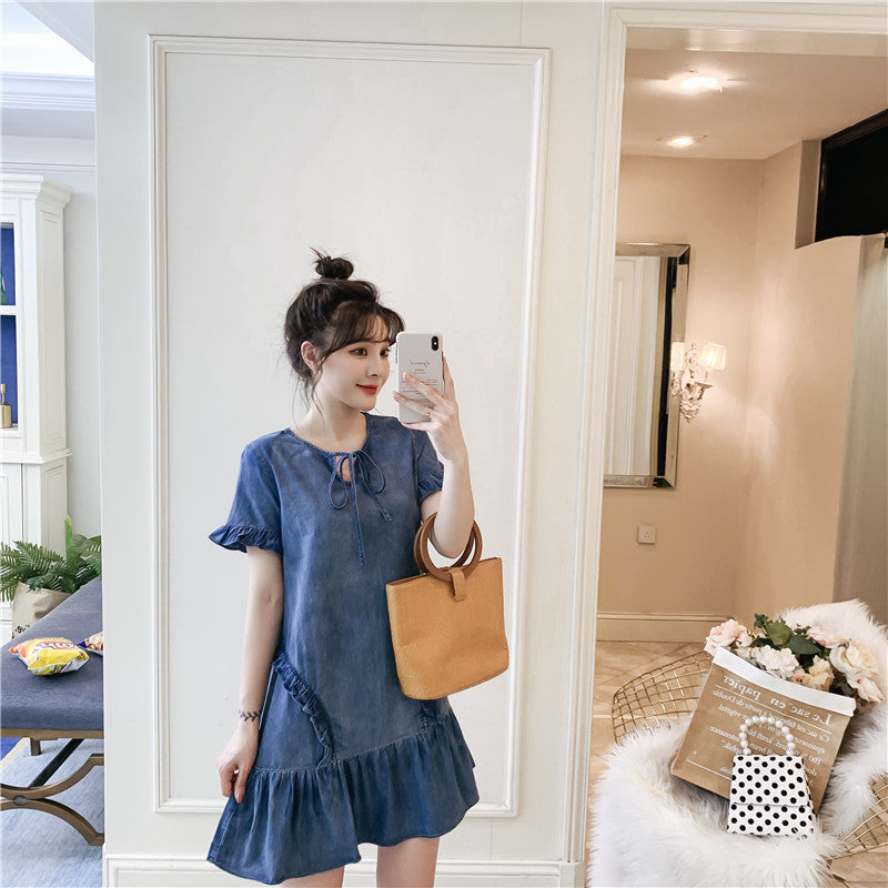 DR20113 Short Sleeve Round Neck Denim A-line Dress