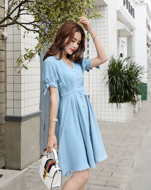 DR20114 Short Sleeve V Neck Shirt Dress