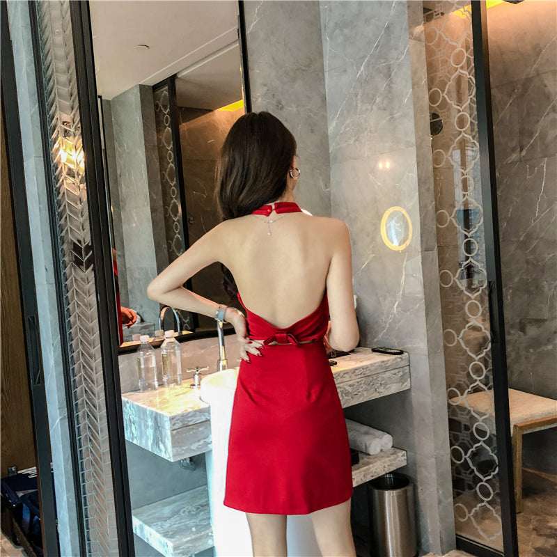 DR20120 Halter Neck Bareback Sheath Dress