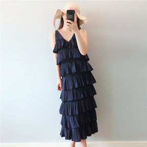 DR20130 Sleeveless Long Cake Dress
