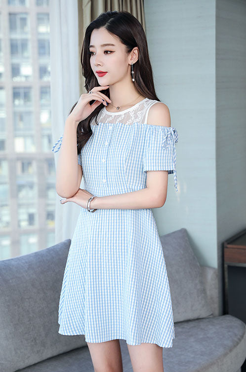 DR20131 Short Hollow Sleeve Skater Dress