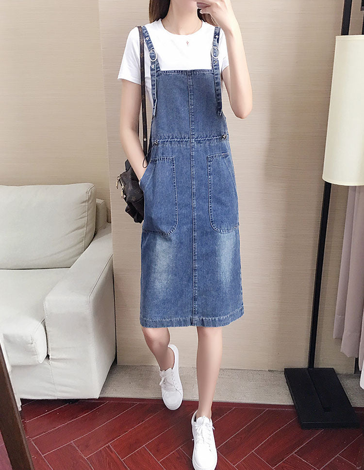 DR20132 Long Denim Slip Dress