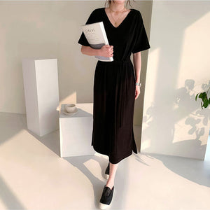 DR20133 Short Sleeve V Neck Loose Long Dress