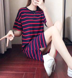 DR20134 Short Sleeve Round Neck T-shirt Dress