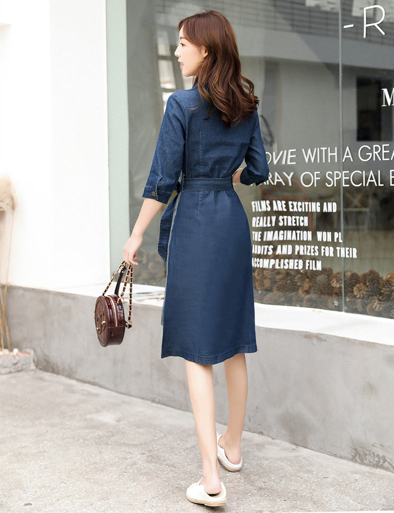 DR20151 Asymmetric V Neck Denim Dress