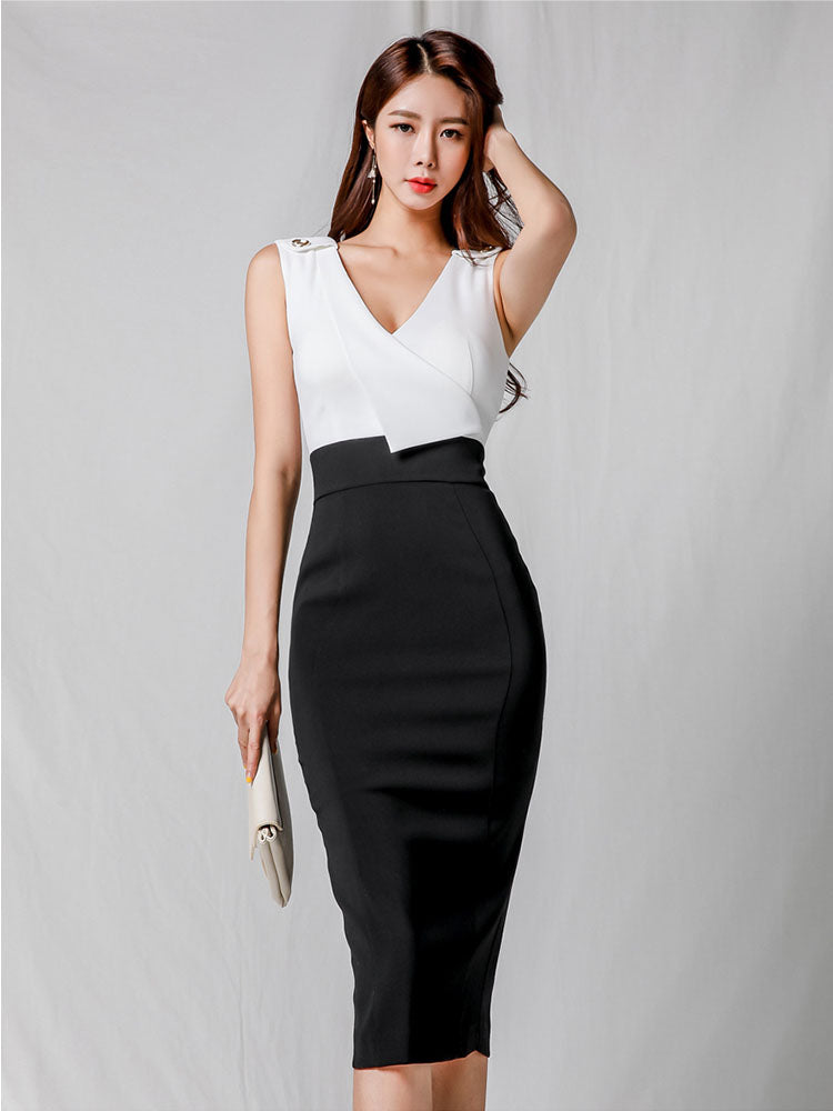 DR20152 Sleeveless V Neck Pencil Dress