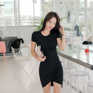 DR20155 Short Sleeve Asymmetric Little Black Dress