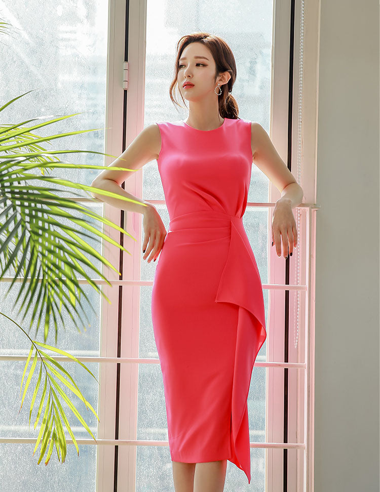 DR20002 Sleeveless Round Neck Ruffled Pencil Dress