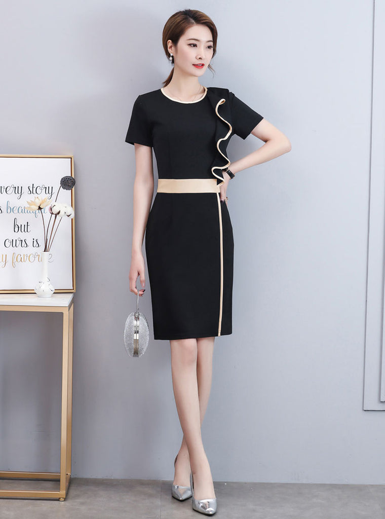 DR20003 Short Sleeve Round Neck Sheath Dress with Ruffled Top