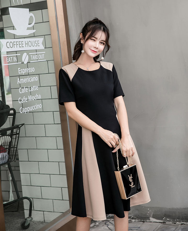 DR20007 Short Sleeve Round Neck Little Black Dress