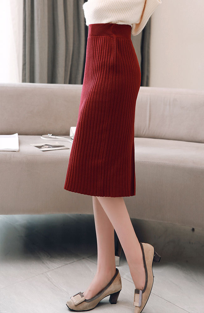 SK10024 Mid Length Straight Knit Skirt (Long Version)