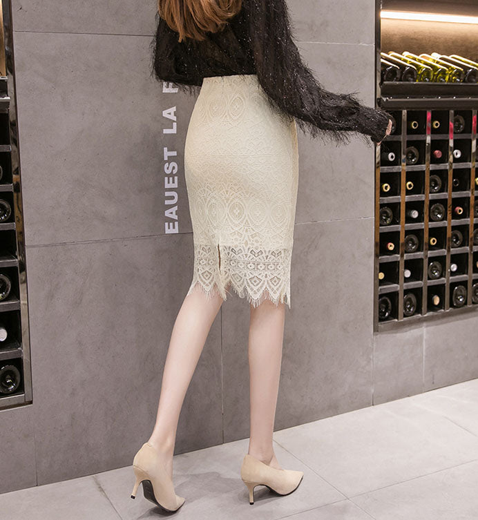 SK10020 Mid Length Laced Pencil Skirt