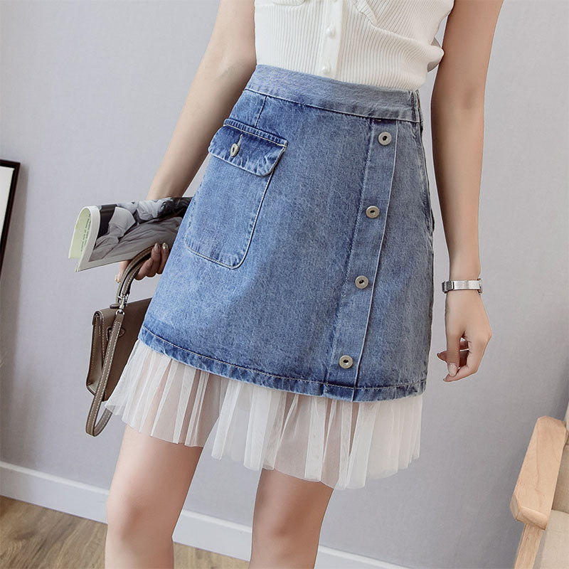 SK20062 Short A-line Denim Skirt with Lace Helm