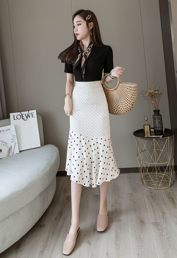 SK20065 Mid Length Asymmetric Fishtail Polka Dot Skirt