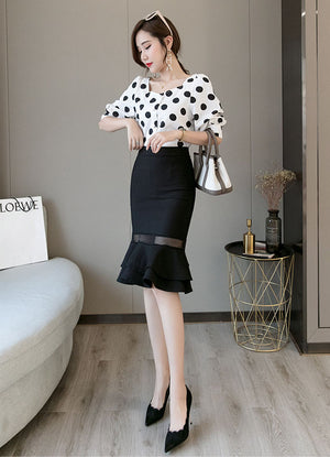 SK20066 Mid Length Fishtail Pencil Skirt