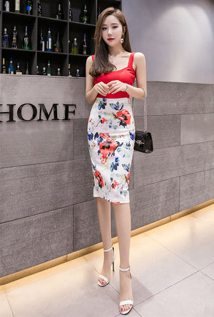 SK20067 Mid Length Flora Pencil Skirt