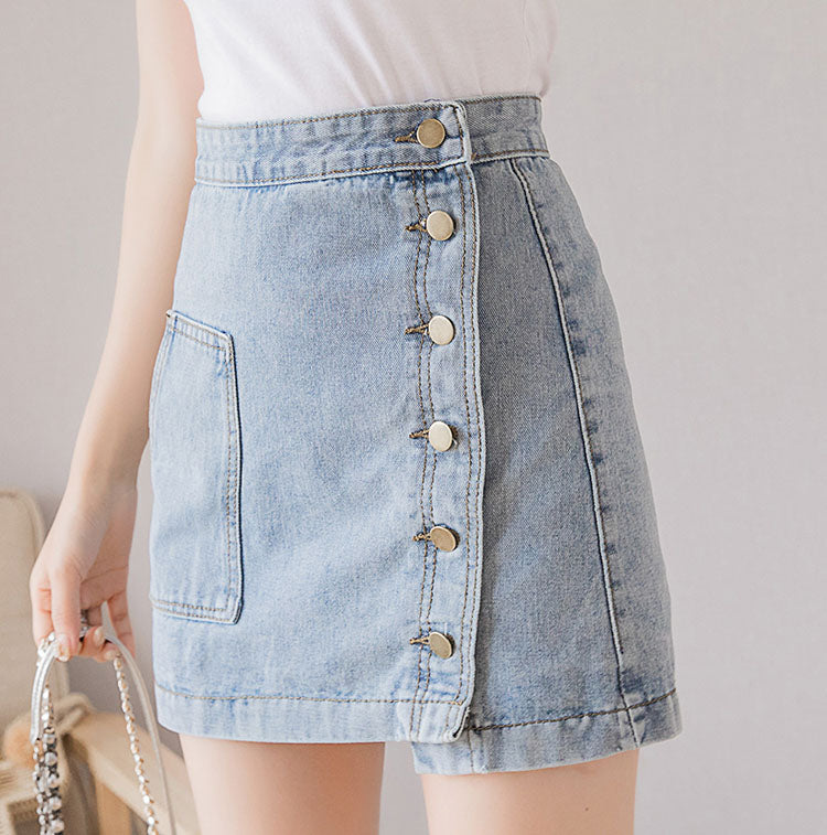 SK20068 Short A-line Denim Skirt with Front Buttons