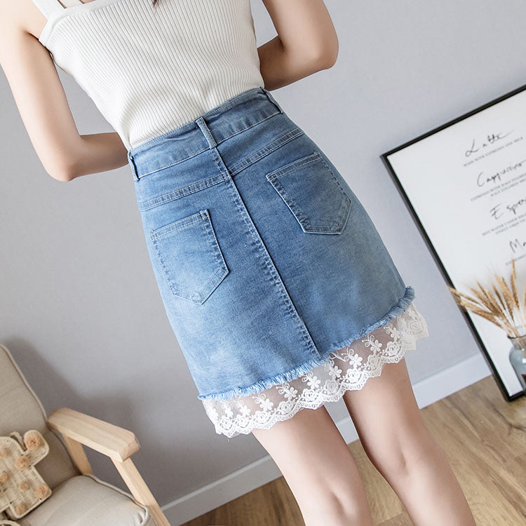 SK20069 Short A-line Denim Skirt with Lace Helm