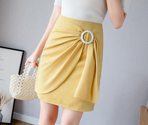 SK20129 Short Asymmetric A-line Wrap Skirt
