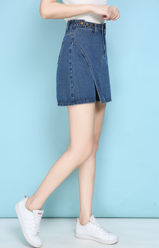 SO10116 High Waist Adjustable Denim Skorts