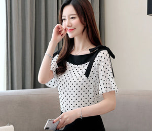 TP10049 Ruffle Short Sleeve Polka Dot Chiffon Top