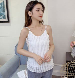 TP10125 Chiffon Spaghetti Top with Pearl Straps