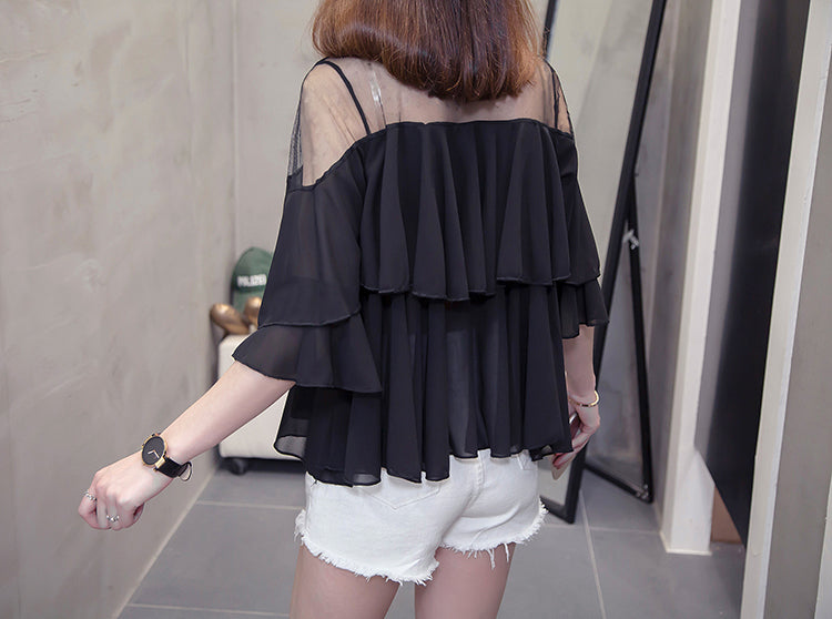 TP10126 Short Sleeve Ruffle Chiffon Top