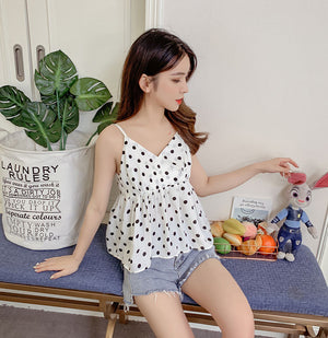 TP10127 Spaghetti V Neck Polka Dot Top
