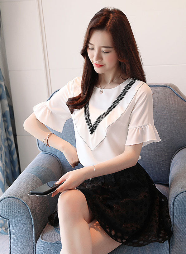TP20018 Short Ruffled Sleeve Round V Neck Chiffon Top