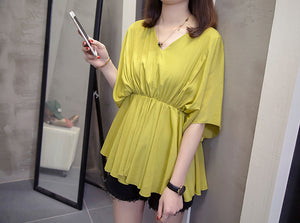 TP20105 Short Sleeve V Neck Loose Top