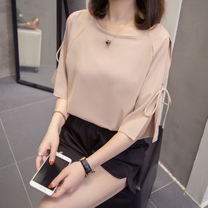 TP20107 Hollow Sleeve Round Neck Loose Top