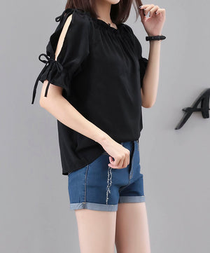 TP20108 Hollow Sleeve Rufffle Neck Loose Top