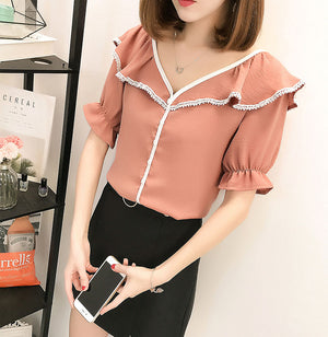 TP20109 Short Sleeve V Neck Ruffle Top